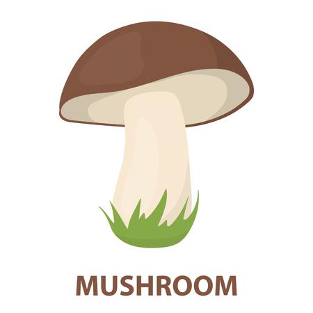 Mushroom rastr illustration icon in cartoon design