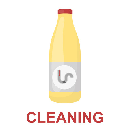 chemical cleaning: Chemical means for pipe cleaning icon cartoon. Single silhouette plumbing symbol.