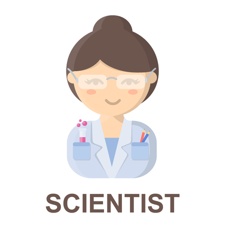 Scientist cartoon icon. Illustration for web and mobile.