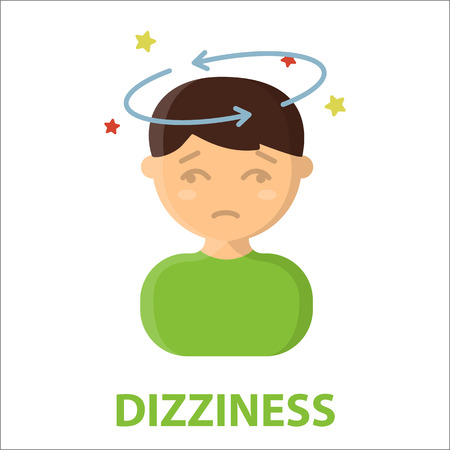 sickness: Dizziness icon cartoon. Single sick icon from the big ill, disease collection.