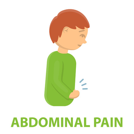 appendicitis: Abdominal pain icon cartoon. Single sick icon from the big ill, disease collection. Stock Photo