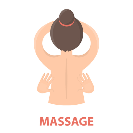 beauty therapist: Massage icon of rastr illustration for web and mobile design