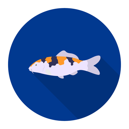 hokusai: Carp-koi fish icon flat. Singe aquarium fish icon from the sea,ocean life flat.