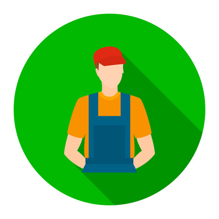 handy man: Auto mechanic icon flat style. Single silhouette auto parts icon from the big car flat - stock rastr