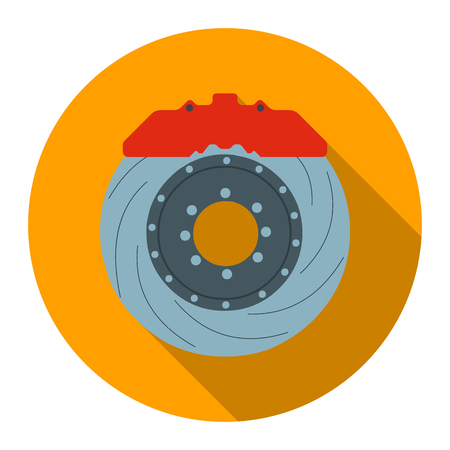 disk break: Brake shoe icon flat style. Single silhouette auto parts icon from the big car flat - stock rastr