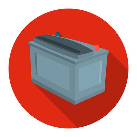 stock car: Car battery icon flat style. Single silhouette auto parts icon from the big car flat - stock rastr