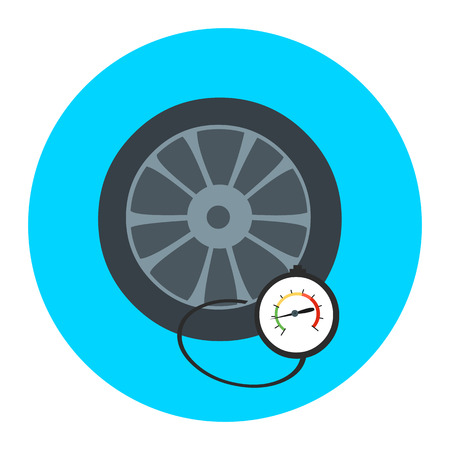 Tire pressure gauge. Checking tire pressure. Gauge, manometer. Car safe concept. Sign, wheel car with instrument measures pressure. Icon tire.