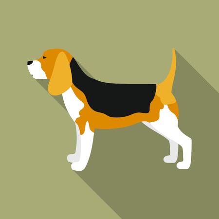 Beagle rastr illustration icon in flat design