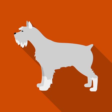 schnauzer: Schnauzer rastr illustration icon in flat design
