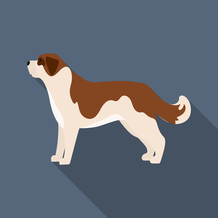 st  bernard: St. Bernard dog rastr illustration icon in flat design