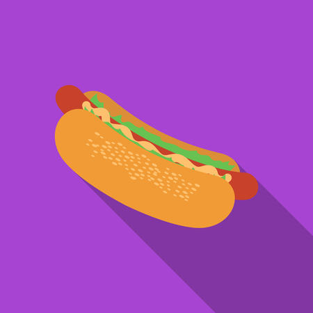 Hot dog rastr illustration icon in flat design