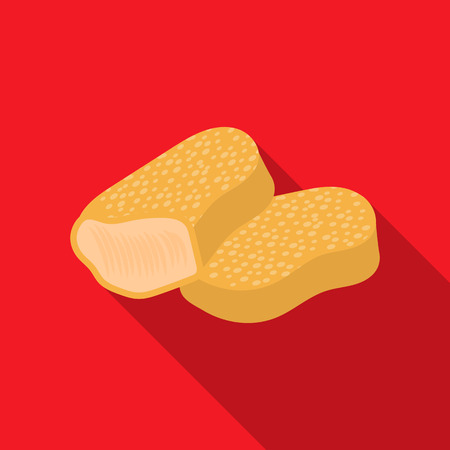 nuggets: Nuggets rastr illustration icon in flat design