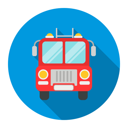 emergency engine: Fire truck icon flat style. Single silhouette fire equipment icon from the big fire Department flat. Stock Photo