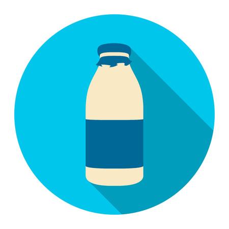 Bottle milk icon flat. Single bio, eco, organic product icon from the big milk collection. Stock Photo