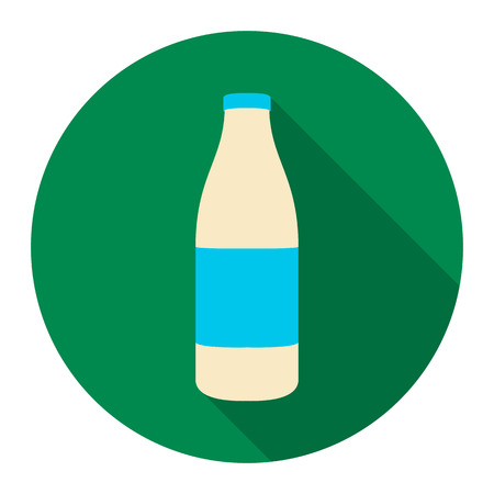 liter: Bottle milk icon flat. Single bio, eco, organic product icon from the big milk collection. Stock Photo