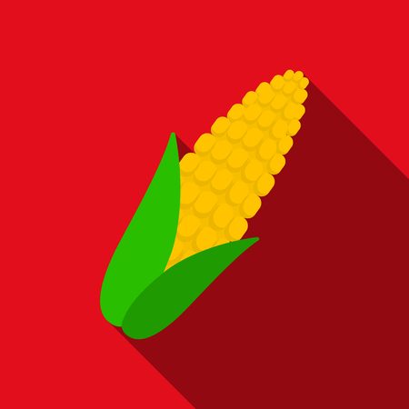 Corn icon flat. Singe vegetables icon from the eco food flat. Stock Photo