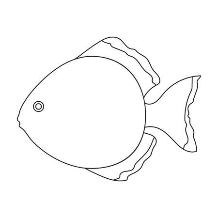 cichlid: Discus fish icon line. Singe aquarium fish icon from the sea,ocean life collection.