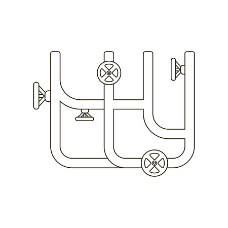 gas tap: Water pipe icon line. One icon of a large plumbing line.