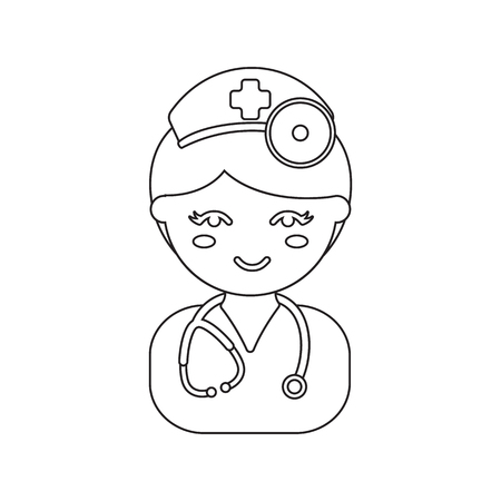 girl stethoscope: Doctor line icon. Illustration for web and mobile.