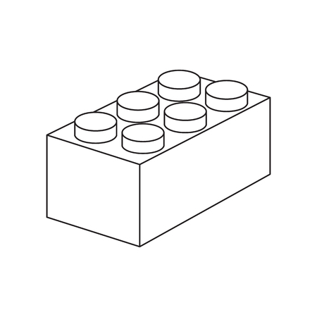 building block: Building block line icon. Illustration for web and mobile.