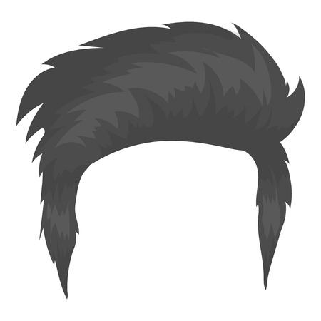 白い背景に分離されたモノクロ スタイルで男の髪型アイコン。ひげシンボル ベクトル イラスト。  イラスト・ベクター素材