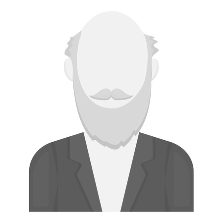 gray beard: Gray beard icon monochrome. Single avatar,peaople icon from the big avatar monochrome. Illustration