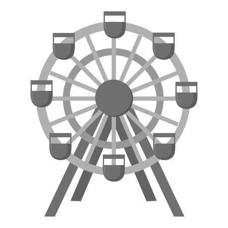 Ferris wheel icon monochrome. Single building icon from the big city infrastructure monochrome.