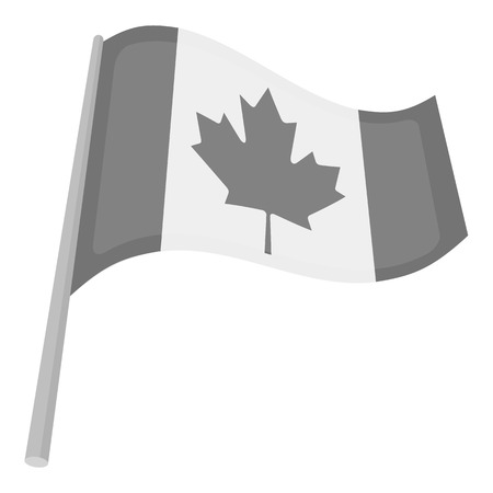 thanksgiving day symbol: Canadian flag icon in monochrome style isolated on white background. Canadian Thanksgiving Day symbol vector illustration. Vettoriali