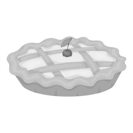 thanksgiving day symbol: Thanksgiving pie icon in monochrome style isolated on white background. Canadian Thanksgiving Day symbol vector illustration.