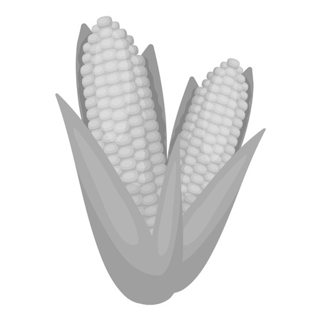 thanksgiving day symbol: Sweet corn icon in monochrome style isolated on white background. Canadian Thanksgiving Day symbol vector illustration.