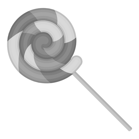 summer's: Lollipop icon in monochrome style isolated on white background. Circus symbol vector illustration. Illustration
