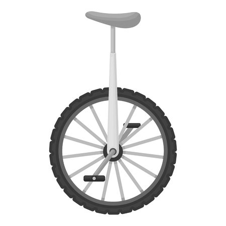 one wheel bike: Monocycle icon in monochrome style isolated on white background. Circus symbol vector illustration.