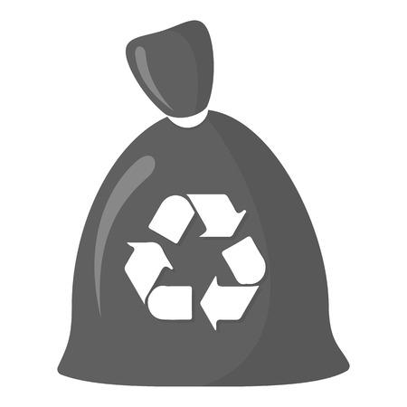 basura: Basura icono de la bolsa blanco y negro. Ilustración para la web y móvil.