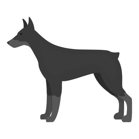 doberman: Doberman vector illustration icon in monochrome design