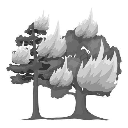 Forest fire vector illustration icon in monochrome design Illustration