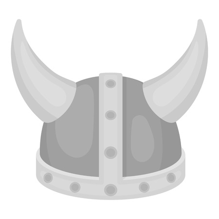 norseman: Viking helmet icon in monochrome style isolated on white background. Hats symbol vector illustration.