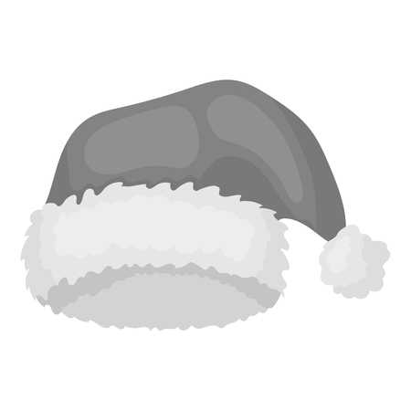 christmas cap: Christmas cap icon in monochrome style isolated on white background. Hats symbol vector illustration.