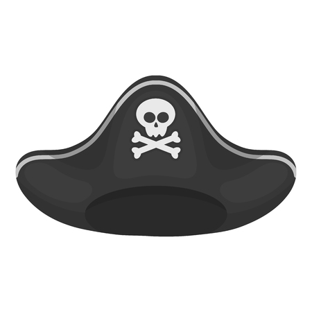 tricorne: Pirate hat icon in monochrome style isolated on white background. Hats symbol vector illustration. Illustration