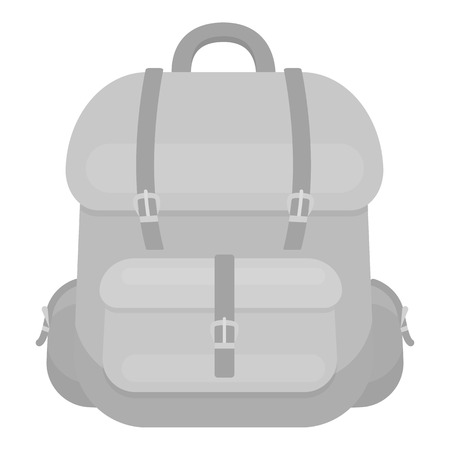 Hunting backpack icon in monochrome style isolated on white background. Hunting symbol vector illustration.