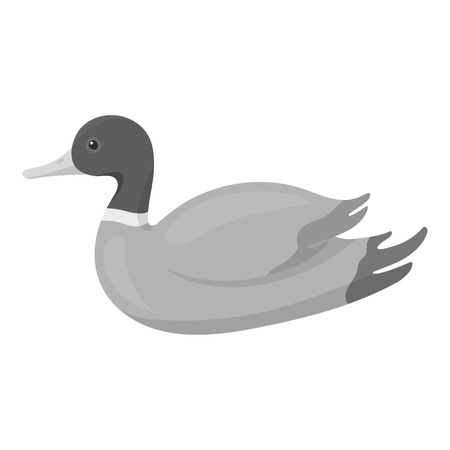 goose flesh: Duck icon in monochrome style isolated on white background. Hunting symbol vector illustration.