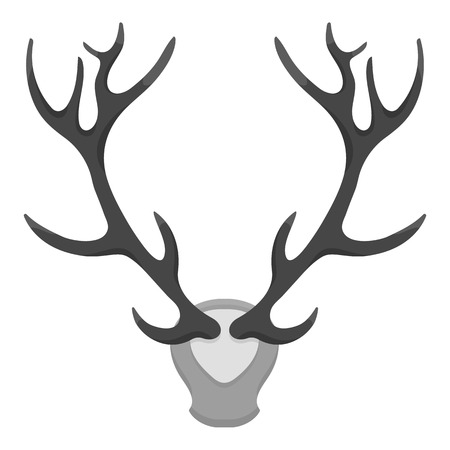 wildlife shooting: Deer antlers horns icon in monochrome style isolated on white background. Hunting symbol vector illustration. Illustration