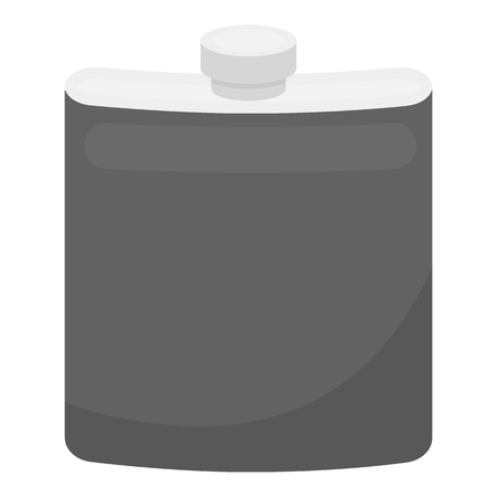 hip flask: Hip flask icon in monochrome style isolated on white background. Hunting symbol vector illustration. Illustration