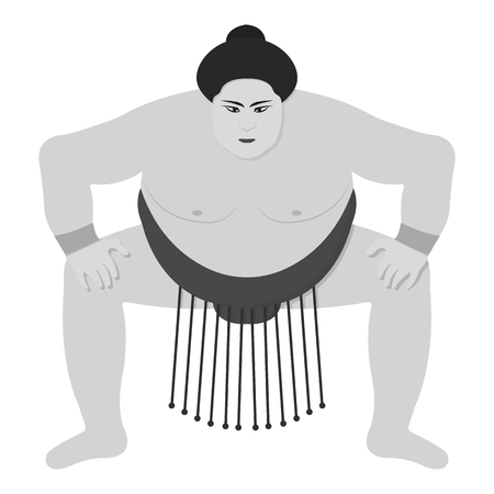 Sumo wrestler icon in monochrome style isolated on white background. Japan symbol vector illustration.
