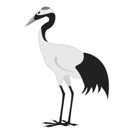 Red-crowned crane icon in monochrome style isolated on white background. Japan symbol vector illustration. Illustration