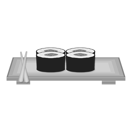 salmon dinner: Sushi icon in monochrome style isolated on white background. Japan symbol vector illustration.