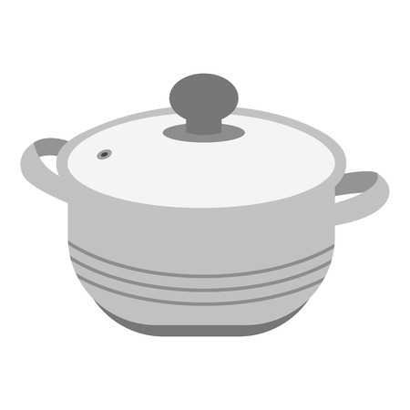 Stockpot icon in monochrome style isolated on white background. Kitchen symbol vector illustration. Illustration