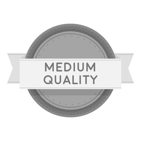 medium: Medium quality icon in monochrome style isolated on white background. Label symbol vector illustration.