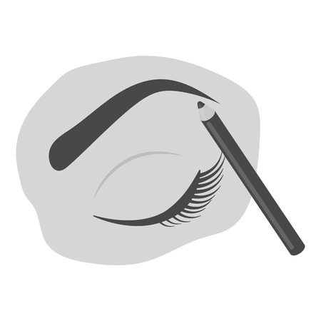 Geschilderd wenkbrauwen icoon in zwart-wit stijl op een witte achtergrond. Maak omhoog symbool vector illustratie.