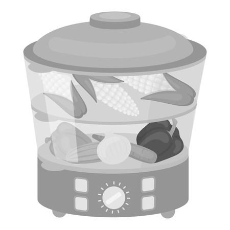 household appliance: Food steamer icon in monochrome style isolated on white background. Household appliance symbol vector illustration.