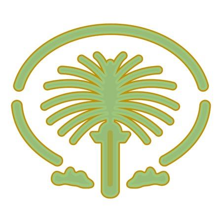 漫画のスタイルの白い背景で隔離のパーム ・ ジュメイラ アイコン。アラブ首長国連邦シンボル ベクトル イラスト。